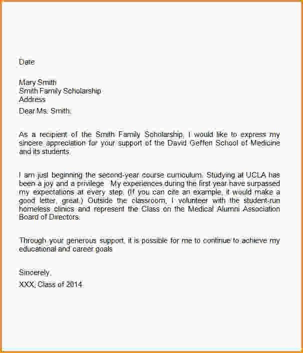 Scholarship Thank You Letter Template.Medical School Scholarship ...