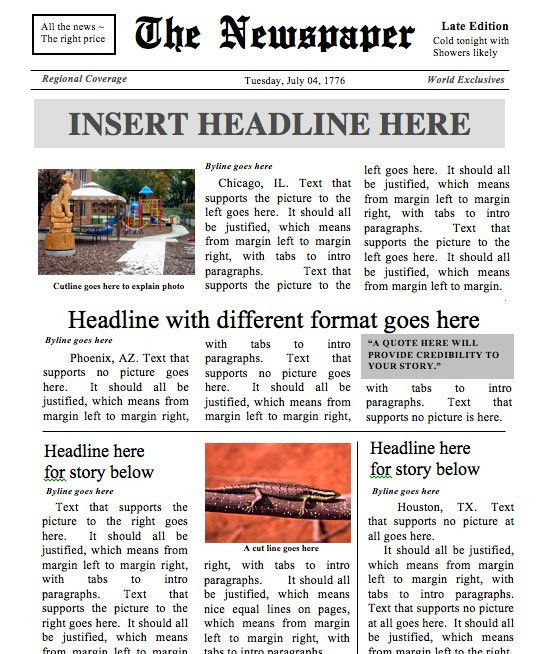 Designed by a Teacher Newspaper Template Instant Download