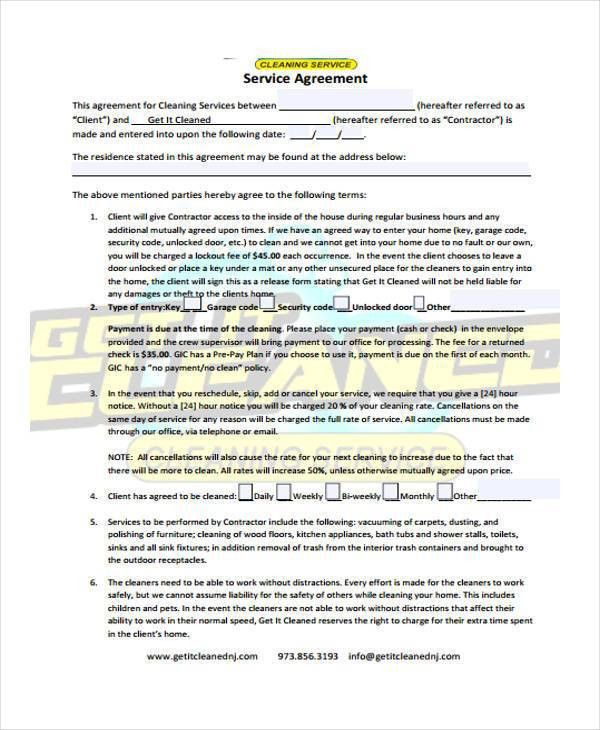 Sample Cleaning Contract Template. Cleaning Contract Template Pdf ...