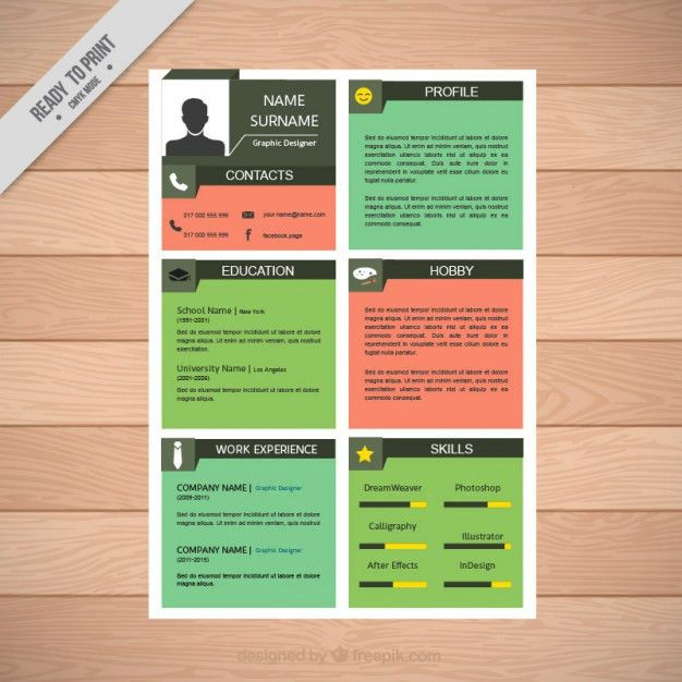 Colors squares resume template Vector | Free Download