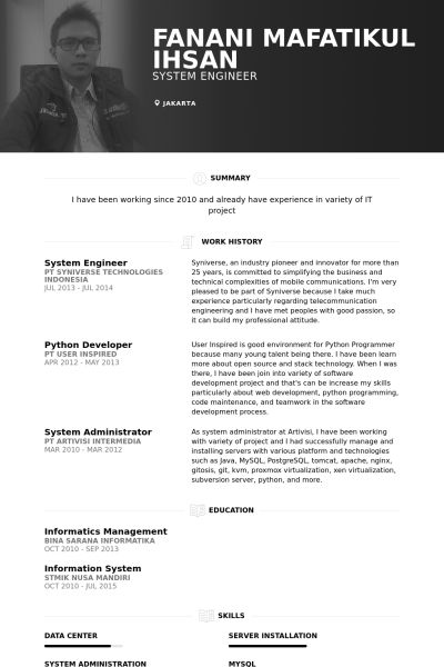 System Engineer Resume samples - VisualCV resume samples database
