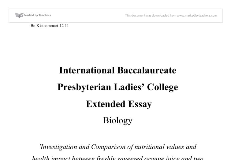 biology extended essay 2009 international baccalaureate biology