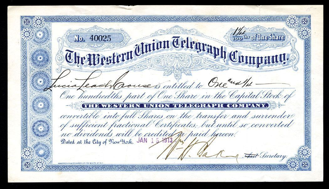 Western Union Telegraph Company, 1913 Fractional Share Stock ...