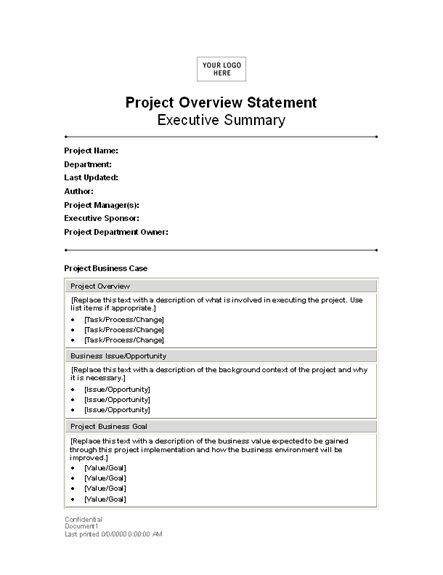 Download Project Overview Statement Statements Templates