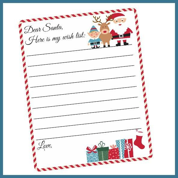 Free Printable Letter to Santa Template ~ Cute Christmas Wish List