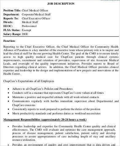 Chief Medical Officer Job Description. Chief Medical Officer Job ...