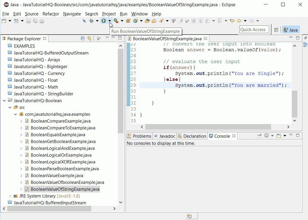 Java Boolean valueOf(String s) method example