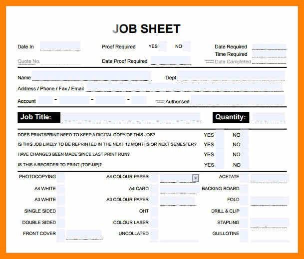 Awesome Job Sheet Template Free Photos - Best Resume Examples for ...