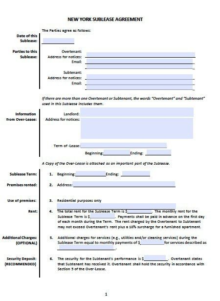 Free New York Sublease Agreement Templates – PDF – Word