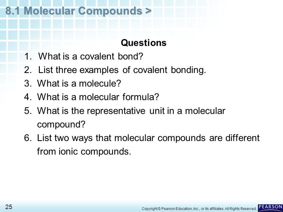Chapter 8 Covalent Bonding 8.1 Molecular Compounds - ppt video ...