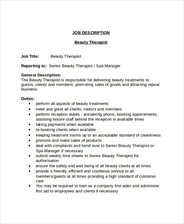 Beautician Job Description 2 Team - uxhandy.com