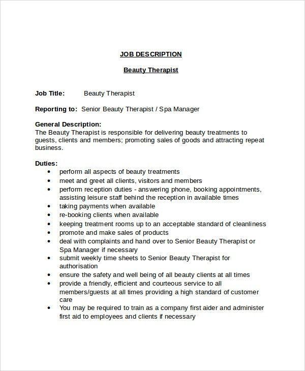 Beautician Job Description 4 Gallery Of Cosmetologist Resume ...