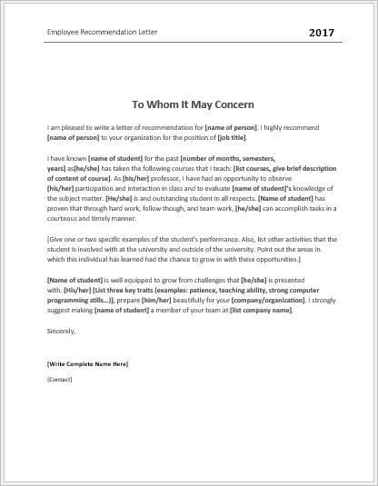Employee Recommendation Letter Templates for MS Word | Word ...