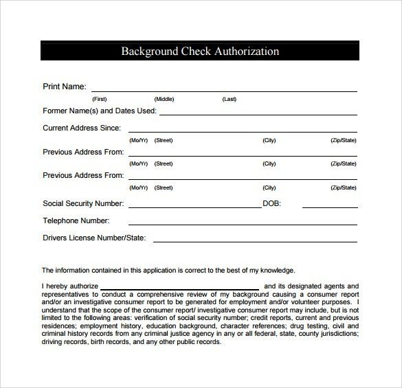 Background Check Authorization Form - 10+ Download Free Documents ...