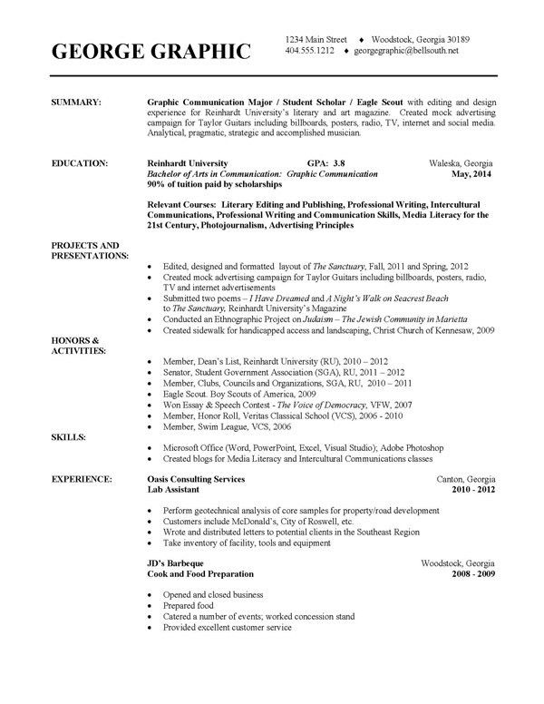 College Resume Template | haadyaooverbayresort.com