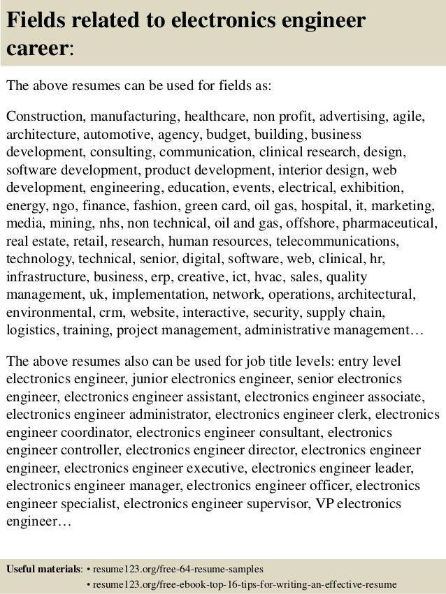 electronic engineer resume samples