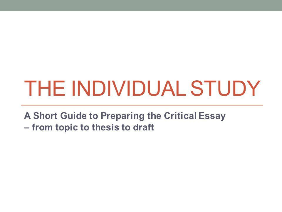 Example of critical essay writing