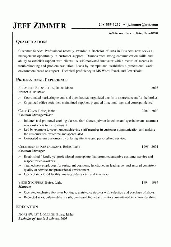 Customer Service Manager Resume Text Template Free : Vinodomia