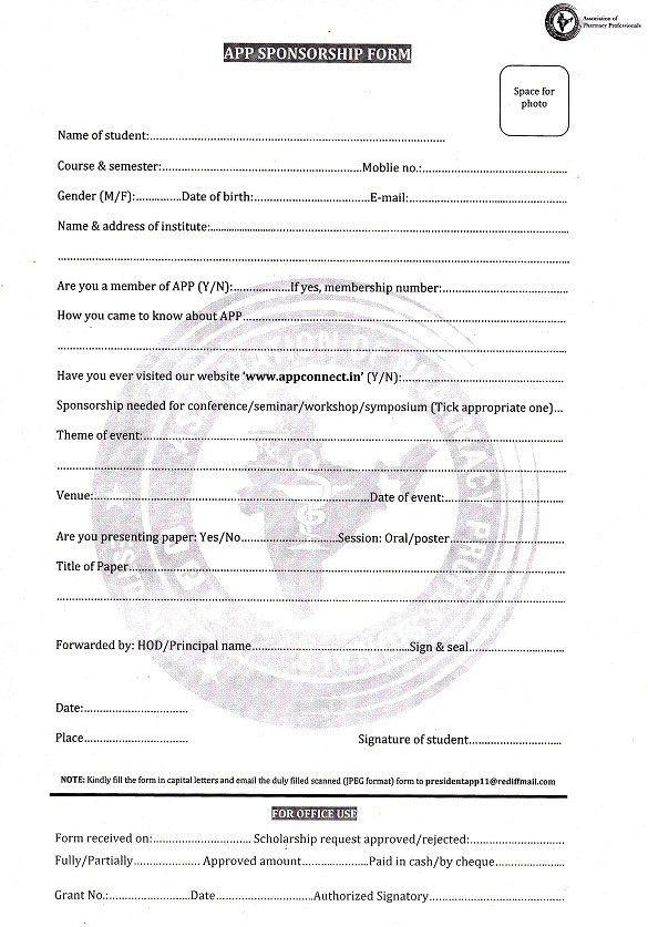 APP Sponsorship Form | Association of Pharmacy Professionals
