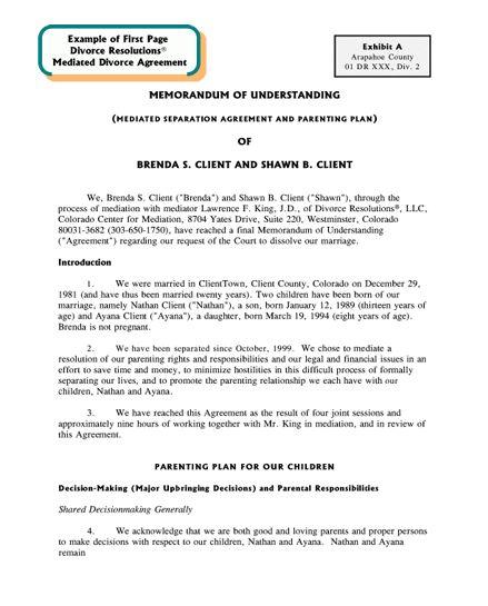 "Colorado Center for Divorce Mediation | Sample ""Memorandum of ..."