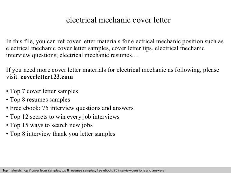 Electrical mechanic cover letter