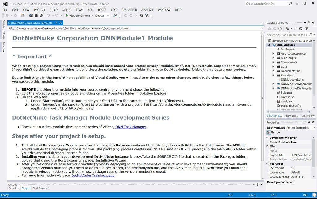 DotNetNuke (DNN) Development Project Templates - Visual Studio ...