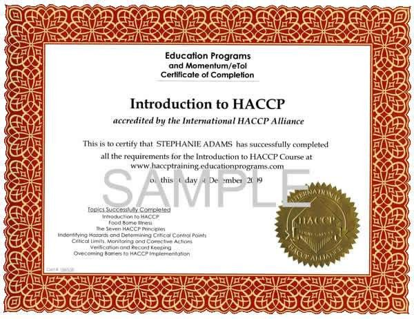HACCP Certification Training Home | Education Programs