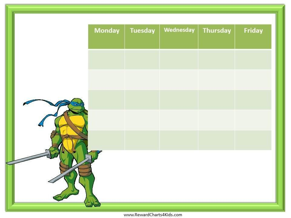 10 Images of Ninja Turtle Free Printable Chore Chart | Printables ...