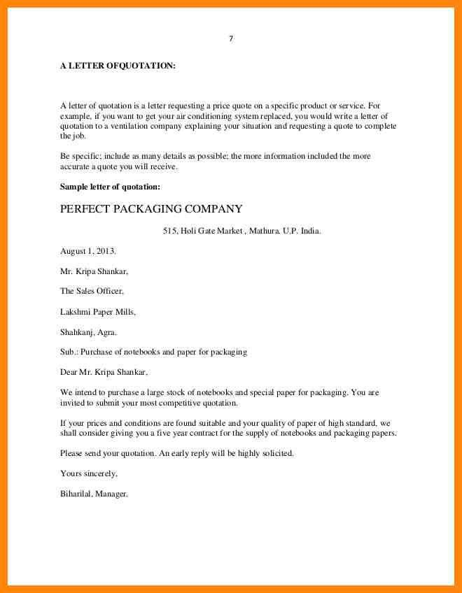 Quotation Letter Sample In Doc. 6 Contractor Quotations - Free ...