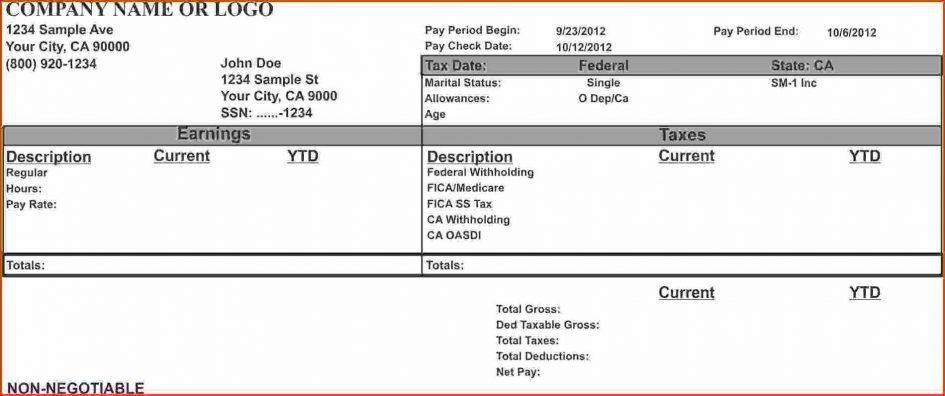 Checks Template Independent Contractor Pay Stub Template Free ...