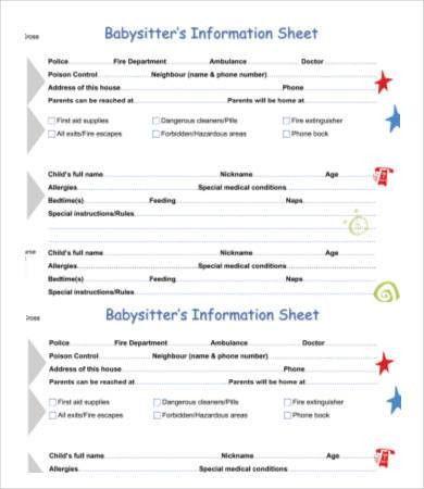 Babysitter Information Sheet Template - 6+ Free Word, PDF ...
