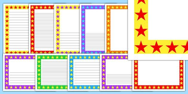 Multicolour Star Page Borders Pack - borders, templates