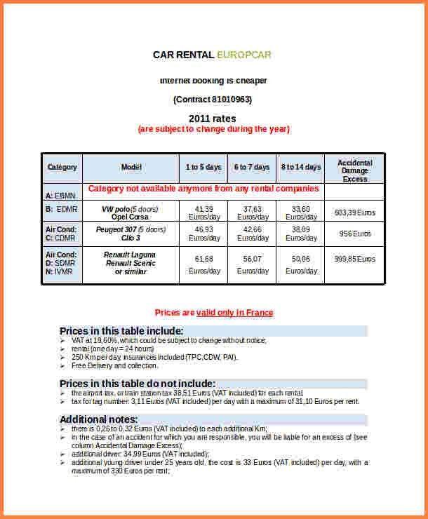 5+ Car Rental Invoice Sample | Invoice Template