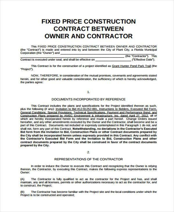 Construction Contract Format, sample contractor agreement. sample ...