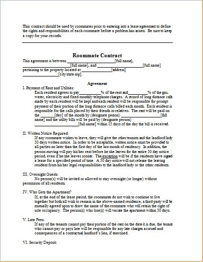 Roommate Contract Sample Template for WORD | Document Templates