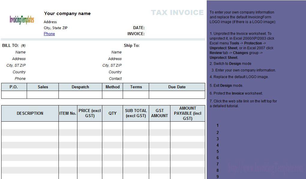 Invoice Template Excel Australia | invoice example