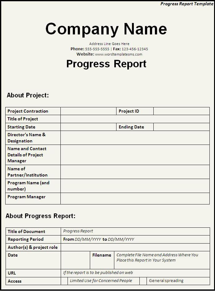 Progress Report Template Download Page | Word Excel Formats