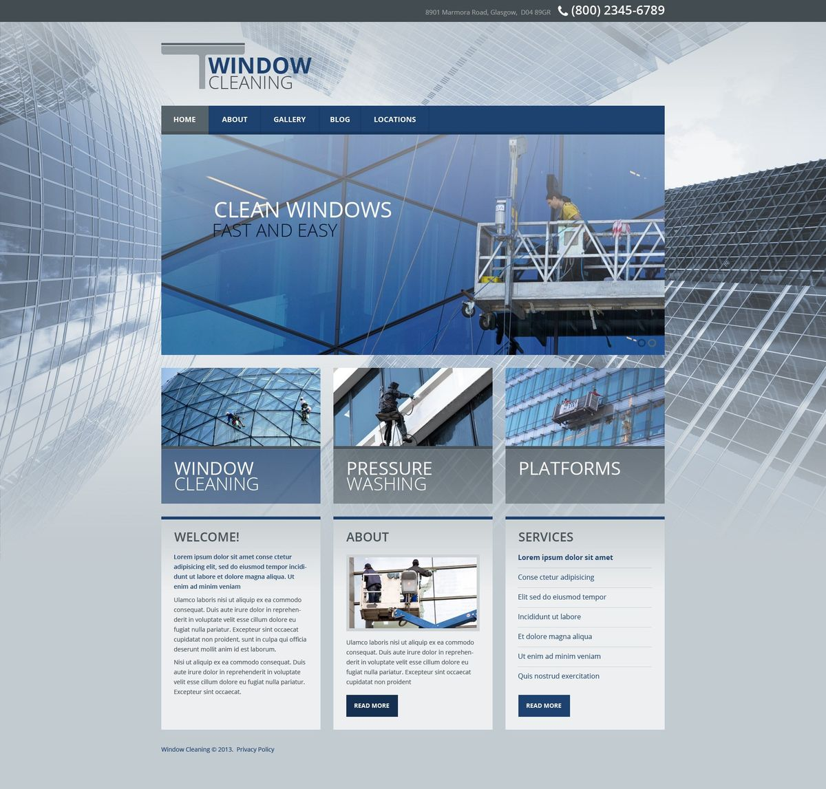 Window Cleaning Website Templates