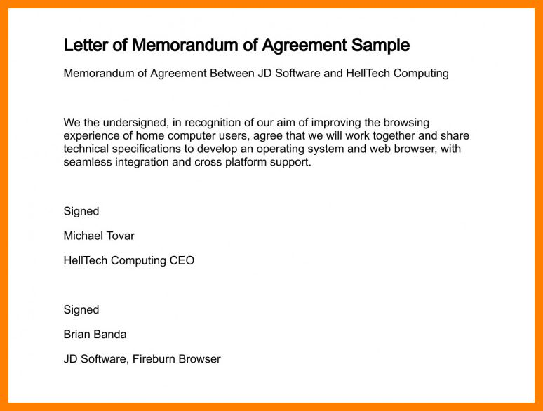 6+ agreement letter format between two parties | joblettered