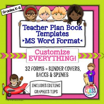 Teacher Plan Book Templates (FULLY Editable in MS Word) Create ...