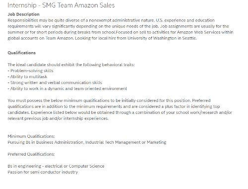 Internship SMG Team Amazon Sales Job Description Responsibilities .