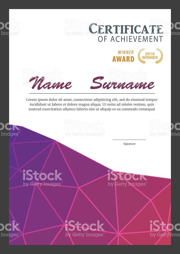 Modern Certificate Template Diploma Layout stock vector art ...