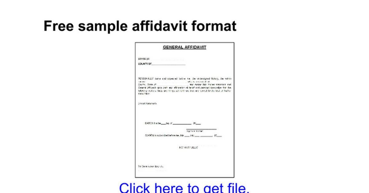 Free sample affidavit format - Google Docs