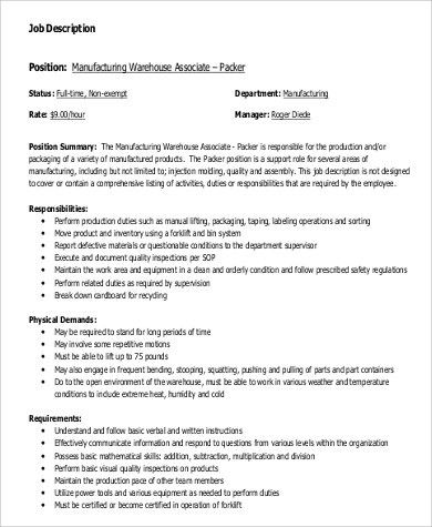 sample warehouse worker job description 9 examples in word pdf