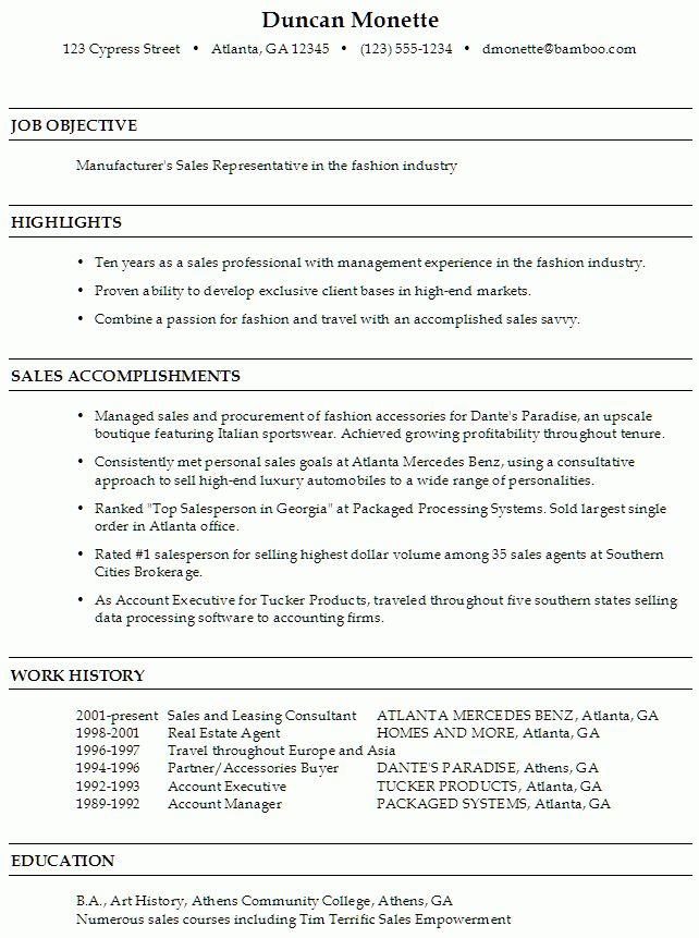 Resume for a Sales Representative in Fashion - Susan Ireland Resumes