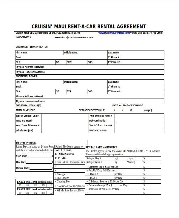 13+ Car Rental Agreement Templates – Free Sample, Example Format ...
