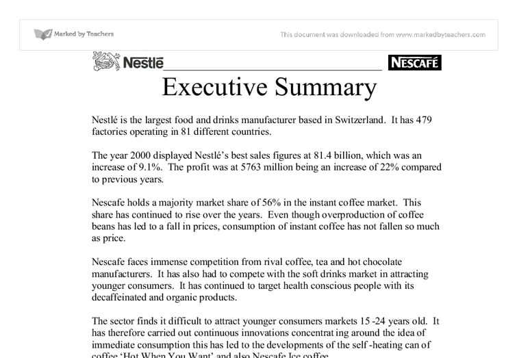 Executive Summary - Nestl - University Business and Administrative ...