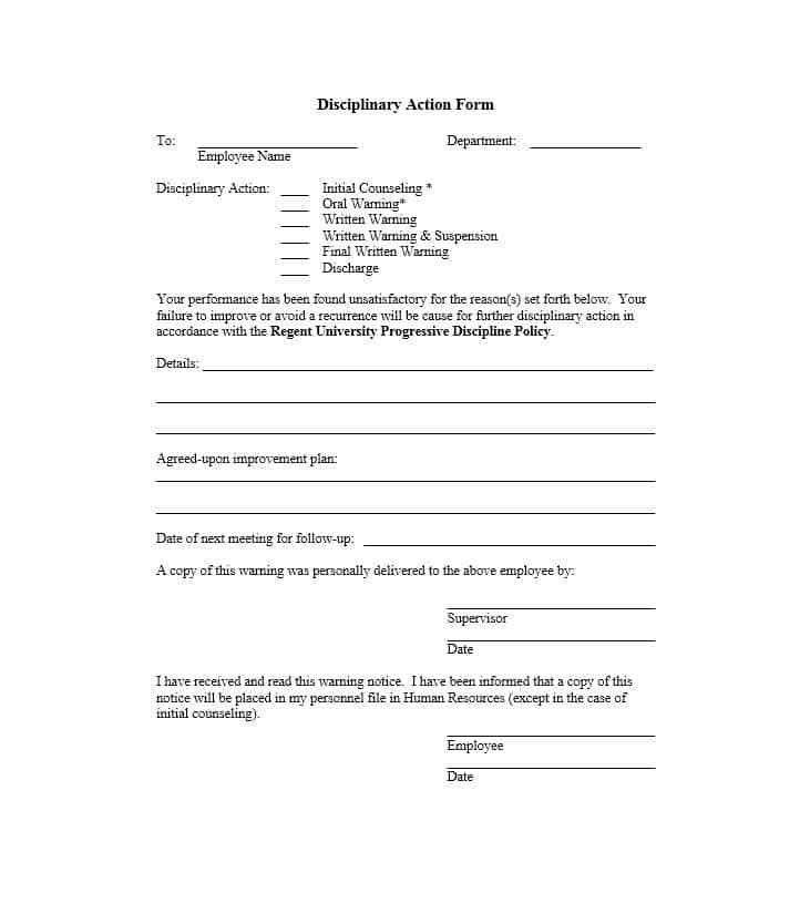 Employee Counseling Form. Disciplinary Action Form 11 40 Employee ...