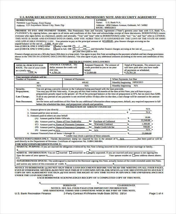 6+ Promissory Note Agreement Form Samples - Free Sample, Example ...