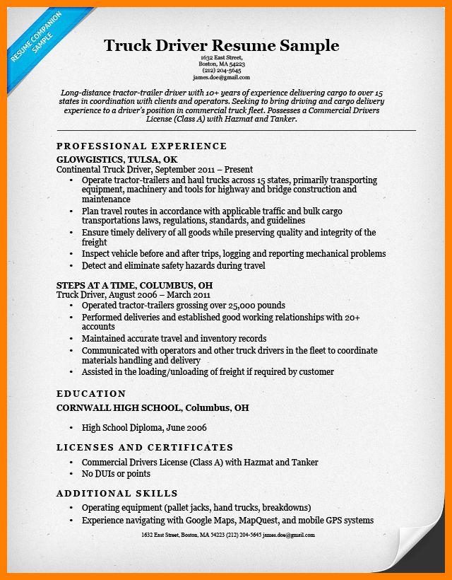 4+ resume for truck drivers | forklift resume